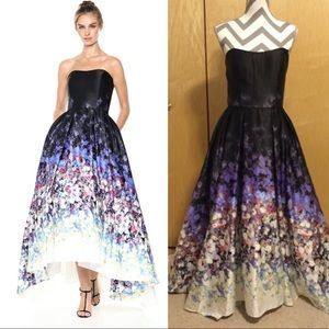 Betsy & Adam Women's Strapless Floral Ball Gown